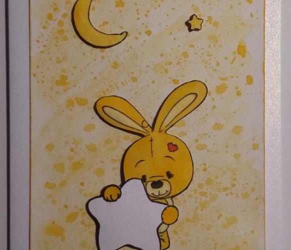 Carte naissance lapin fond encre orange