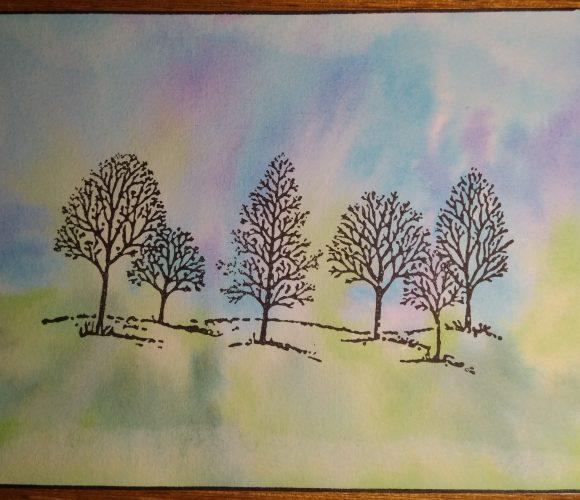 Carte fond encres arbres