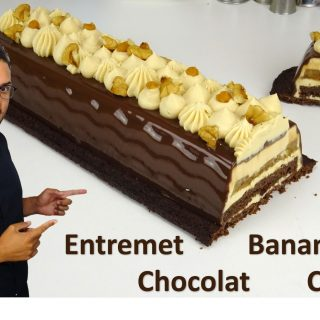 ENTREMET BANANE CHOCOLAT CARAMEL AU BEURRE SALÉ