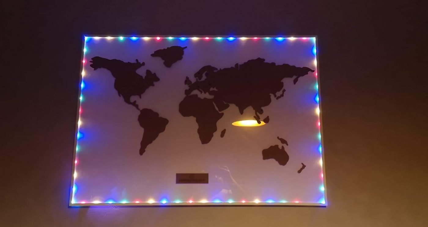 J'ai choisi pour ma sœur ... la carte du monde en liège de