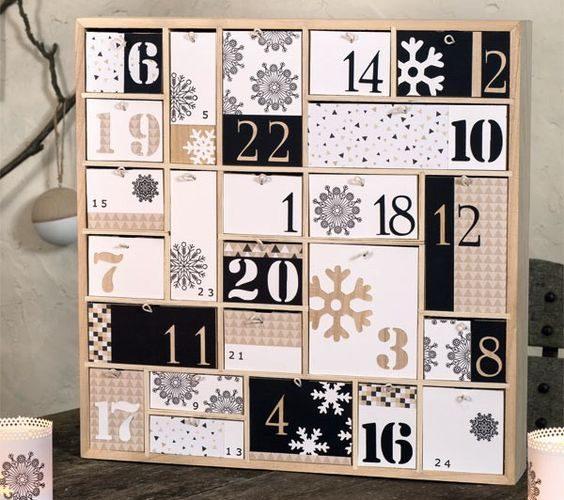 Mon calendrier de l'avent en bois version noir et blanc !