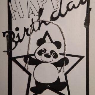 Carte d'anniversaire en noir et blanc pour Margaux