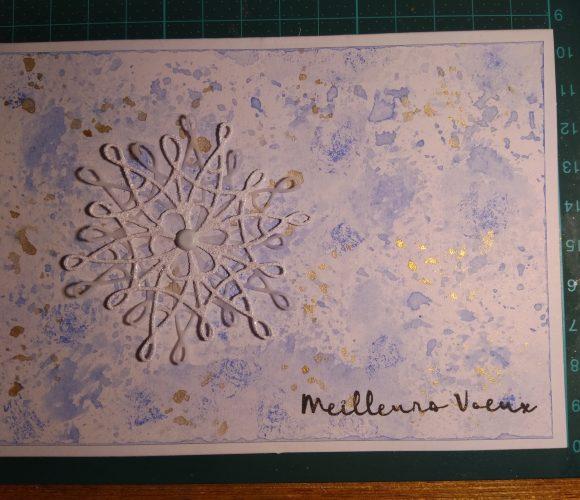 Carte bleu gris flocons de neige