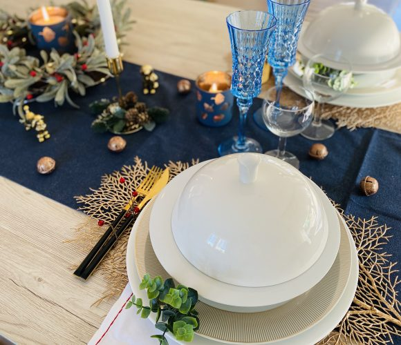 table chic en bleu