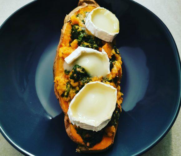 Patate douce farcie épinards et chèvre