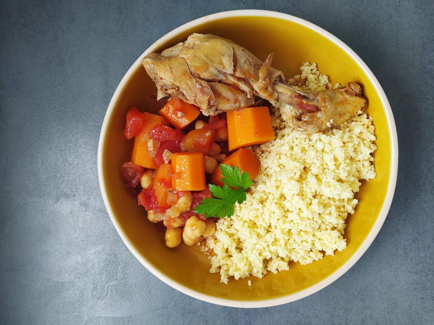 Tajine poulet carottes pois chiche
