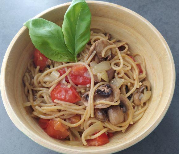 one pasta champignons tomates cerises