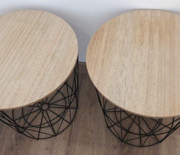 Table filaire en métal noir Kumi