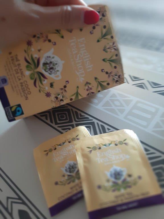 Mon thé blanc bio citronnelle / cacao, gingembre, aromatisé fruit de la passion et à la noix de coco