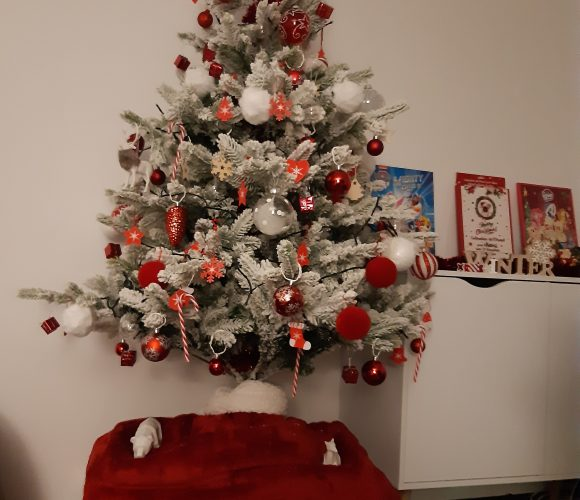 Sapin rouge et blanc  Noël  🎄🎁