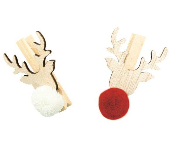 6 pinces têtes de cerf avec pompons blanc et rouge