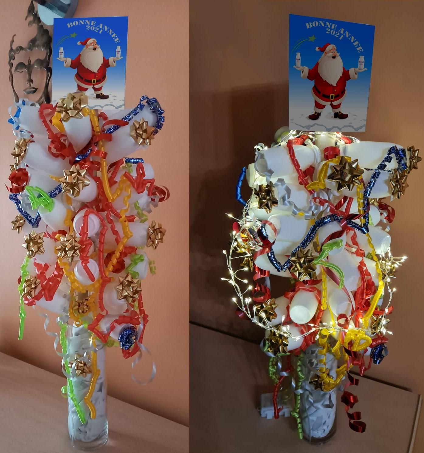 Sapin de Noël  en bouteilles d' Actimel ... DIY 🎅