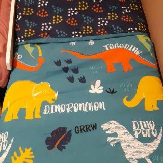 La housse de couette et taie en coton dinorigolo (dinosaure) !