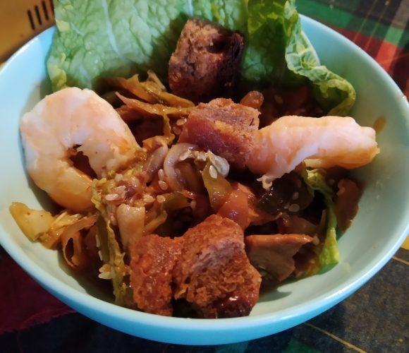 Wok de légumes poulet crevettes