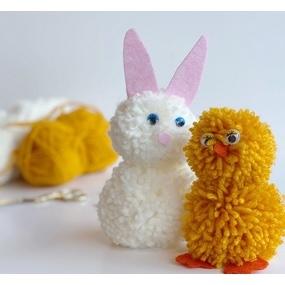 Mon lapin et mon poussin en pompons DIY pour Pâques !