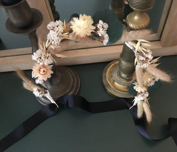 Couronne de fleurs séchées pour cheveux