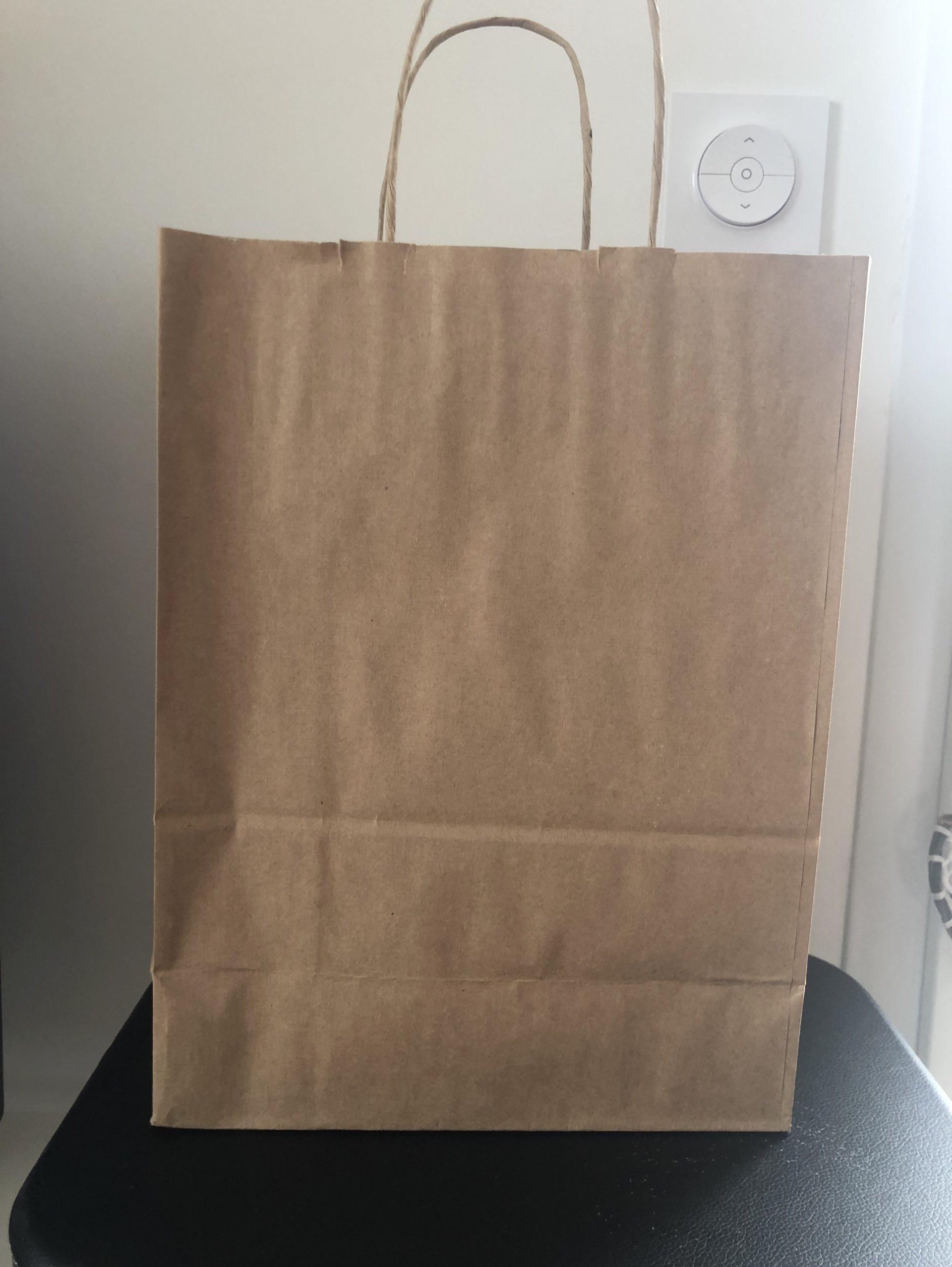 J'ai testé pour vous le sac kraft 24x12x32cm a l'unité