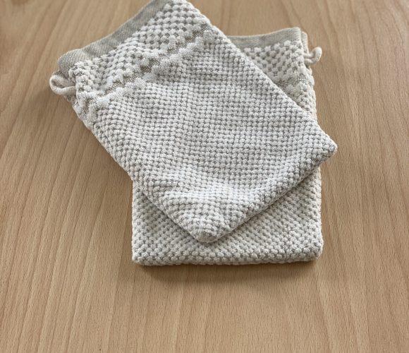 J'ai testé pour vous gant de toilette en coton/lin jacquard beige