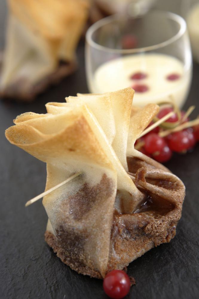 Recette Magazine : Aumonière de mi-cuit au chocolat