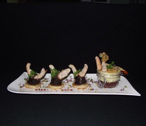 Un plat: langoustines et verrine parmentière