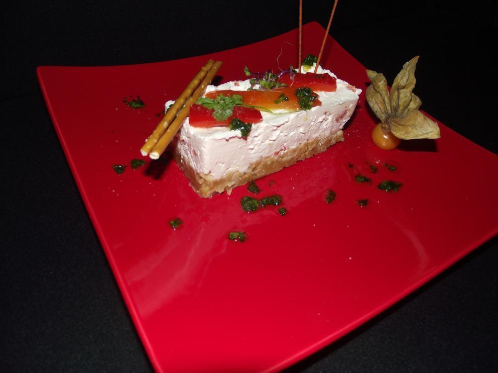 Une entrée: cheesecake au poivron
