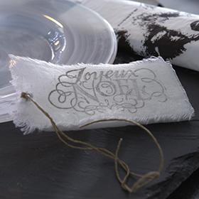 Étiquette de noël en tissu