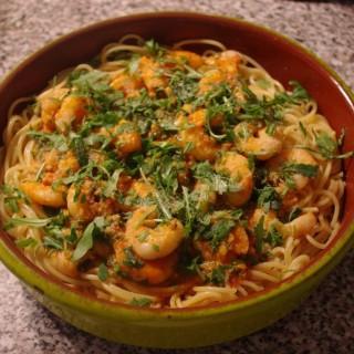 les Spaghettis féroces aux crevettes!