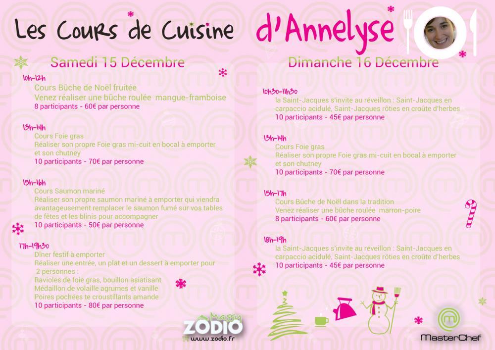 Cours de cuisine d 39 annelyse participante master chef for Zodio cours cuisine