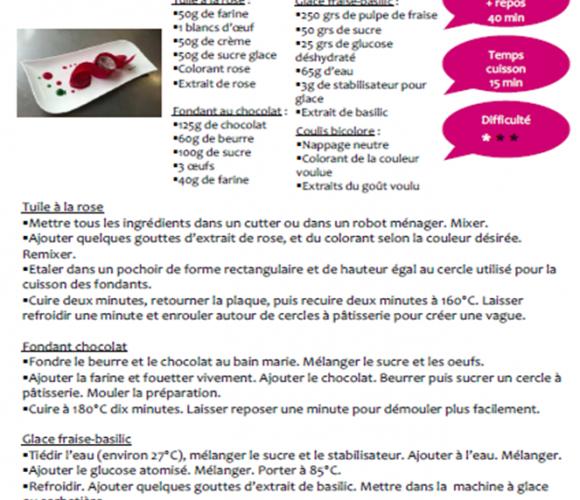 Recette du fondant au chocolat avec une tuile à la rose et une glace fraise-basilic